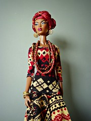 Turban Look (Deejay Bafaroy) Tags: turban facesofadele adele makeda integrity toys fashion royalty thefacesofadele doll puppe fr black schwarz portrait porträt ruby weinrot beige earrings ohrringe necklace halskette dress kleid