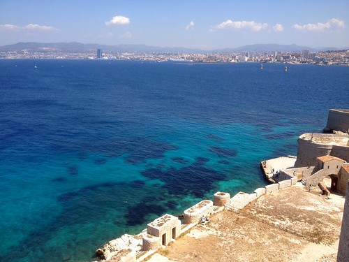 Chateau D'If overlooking mainland Marseilles France