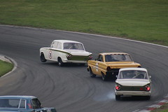 Mark Martin/Andrew Haddon, Ford Lotus Cortina; Julian Thomas/Calum Lockie, Ford Falcon and Geoffrey Letts, Ford Lotus Cortina (Crackers250) Tags: car racing vintage old classic brandshatch mastershistoricfestival 2018 motorsport retro masters pre66 touring cars saloon ford falcon lotus cortina