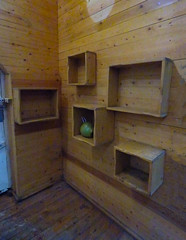 Box Shelving (Steve Taylor (Photography)) Tags: boxes stall stables market architecture design brown door wall blue yellow wood wooden uk england london camden gb greatbritain coconut water shell drink shelving