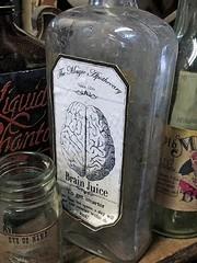 Brain Juice (AntyDiluvian) Tags: boston massachusetts northshore essex capeann antiques antiqueshop howardsflyingdragonantiques flyingdragon bottle label themagicapothecary 1855 brainjuice smarter