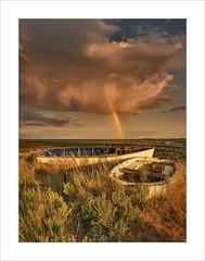Rainbow Rising (Nigel Morton) Tags: mersea westmersea merseaisland rainbow storm rain sunset weather essex beach lowtide clouds outdoors sea coast