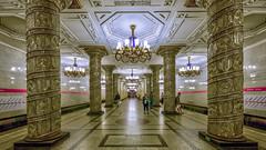 Avtovo metro stop, Saint Petersburg, 20180920 (G · RTM) Tags: avtovo metro saintpetersburg pillar glass ornamental marble chandelier lomonosov