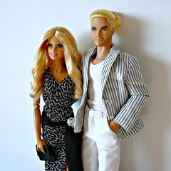 Heidi & Tom (Deejay Bafaroy) Tags: barbie mattel doll dolls puppe puppen heidiklum tomkaulitz fashion royalty fr integrity toys applejack jack homme male couple celebrity celebrities promi promis prominent blond blonde stripes striped streifen gestreift dress gown kleid abendkleid black schwarz white weiss portrait porträt