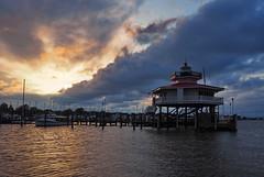Cambridge, Maryland Marina at Sunset (nelhiebelv) Tags: marina cambridge maryland chesapeakebay lighthouse cloudsstormssunsetssunrises