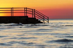 Westgate Steps at Sunset (bullboy1983) Tags: sea seaside coast beach waves sunset sky fierysky orangesky silhouette kent westgateonsea coastline horizon surf waterfront shore horizonoversea emptyspace peaceful relaxing calm tide