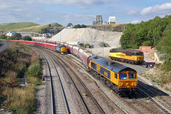 66788 Peak Forest 1st September 2018 (John Eyres) Tags: 66788 backs 6h03 1047 forders peak forest cemex 37716 is stabled siding while errant 56105 parked headshunts awaiting collection