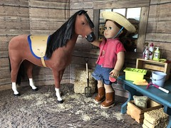 5. In the stable (Foxy Belle) Tags: doll horse american girl barn dollhouse 14 18 inch ag wooden hay miniature diorama scene room penny saige