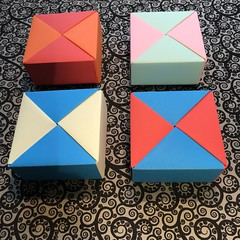 ORIGAMI BOXES (4) (JOHN MORGANs OLD PHOTOS.) Tags: made by john morgan 160 gsm card for my ribbon brooches origami boxes box