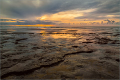 Ebb (Eva Haertel) Tags: sunset sea sand ocean sky beach water rock bay eva haertel 5dmarkiii spiegelung refliction landscape landschaft stimmung mood holland netherlands ouddorp