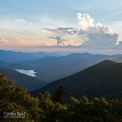 Blue Ridge Mountains, Asheville, NC (70021) (John Bald) Tags: asheville blueridgemountains blueridgeparkway nc bluesky clouds lake majestic mountainrange mountains squareformat summer sunset trees