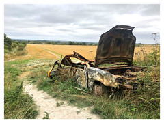 The ever changing English countryside (The Stig 2009 (On Holiday)) Tags: burnt out car english countryside changing seasons thestig2009 thestig stig 2009 2018 tony o tonyo iphone 8 plus rusty crusty metal vehicle stolen fire
