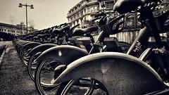 Pedaling row (vincentag) Tags: bikes row street paris