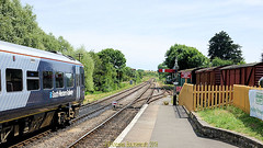 South West Trains early main line test run into Corfe Castle Station on the Swanage railway line, in June 23rd  2018, the Isle of Purbeck, Dorset, England. (samurai2565) Tags: corfecastle castleindorset england purbecks wareham doomsdaybook bankesestate thenationaltrust swanage sandbanksferry studland swanagerailway corfecastlestation museumcorfecastle isleofpurbeck