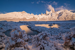 Gosh (Maddog Murph) Tags: el chalten fitz roy peak mountain mountains patagonia argentina show first winter fall autumn lakes water glow reflection light reflecting golden hour dawn blue clear crisp stillness still earth forest landscape photography maddog murph
