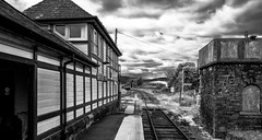 Foxfield (Peter Leigh50) Tags: blackandwhite monochrome dmu train railway railroad rural rail station stone water tank signal box platform track fuji fujifilm xt2
