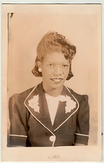 Vintage 1944 Photo Postcard : Magnolia Studio Portrait Of A Young Lady (CHAIN12) Tags: vintage photo scan scanned rppc postcard portrait woman young lady toothy buckteeth glasses black africanamerican magnolia studio neworleans 1944 phtfndr1944rppcmagnoliastudioportraitynglady