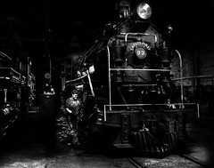 024693763737-104-Working on the Train-10-Black and White (Jim There's things half in shadow and in light) Tags: america ely nevada nevadanorthernrailwaymuseum southwest usa whitepinecounty history locomotive museum rail steam train people work blackandwhite monochrome