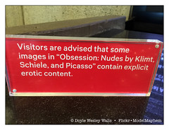 Every Time I See a Sign like This in an Art Museum I Have a Thousand Thoughts at Once (Doyle Wesley Walls) Tags: lagniappe 7783 iphonephoto text words sign warning red color artmuseum themetbreuer