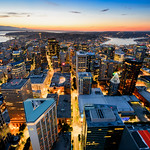 Downtown Seattle at sunset - looking north thumbnail