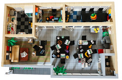 Lego office - aerial view (lauradavison) Tags: lego moc custom office building modern interior layout scale model furniture aerial view