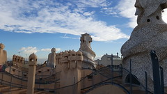 Chimneys and air vents on the roof (xd_travel) Tags: spain barcelona nov2015 casamila gaudi lapedrera architecture modernism roof chimney