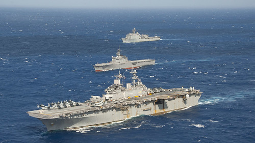 USS Wasp and USS Ashland are underway a passing exercise in the Philippine Sea.