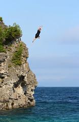 Great Form (jmaxtours) Tags: diver jumper water cliff thegrotto georgianbay lakehuron rocks lake greatlake brave high ontario