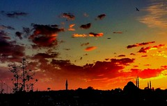 Istanbul (maryduniants) Tags: mosque sky orange red turkey december sunset istanbul clouds redsky