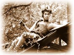 woodland sprite ~ sepia (milomingo) Tags: people woman female nature outdoor sprite bristol bristolrenaissancefair renfair apparel costume mythical medieval whimsical sepia monochrome photoborder performer actor