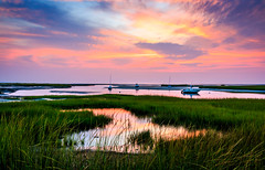 Boat Meadow Landing (Whale24) Tags: eastham cape sunset massachusetts pink blue boats beach ocean