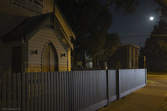 Soul Food Shop - Kingsville Gospel Hall (Ranga 1) Tags: australia australian church kingsvillegospelhall nightphotography night nightexposure lowlightphotography streetlight melbourne urban urbanlandscape narrative moonlight moon fence davidyoung stockphoto stockimage stockgraphic victoria suburbs westernsuburbs footscray suburbia canon canoneos5dmarkiii ef1740mmf4lusm complementarycolours longexposure yarravillewest