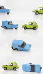Mr Bean's Mini and blue Reliant (hachiroku24) Tags: lego mr bean mini cooper reliant robin moc car instructions