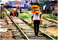 The Guitar Man (lukiassaikul) Tags: creativephotography digitalpainting photopainting guitarman guitars railwaytracks railroad pandacan manila 1976