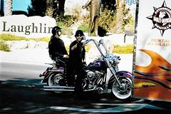 The Laughlin Ride (Shot by Newman) Tags: people laughlinnv biker shotbynewman riverrun bikeweek fuji400 35mm daylight mojavedesert fujifilm 35mmminolta