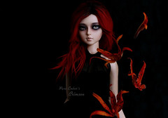 Paint it red (pure_embers) Tags: pure embers resin bjd 13 sd doll dolls ns uk girl elfdoll soah rainy soahrainy pureembers pureemberscrimson crimson photography photo ball joint portrait red hair gothic wall dark flowers