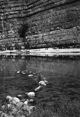 Chassezac 2 (salparadise666) Tags: kw patent etui 9x12 tessar 135mm orange filter fomapan 10064 caffenol cl 40min nils volkmer vintage folding large format film analogue camera france cevennes ardeche chassezac region river summer gorge vertical bw black white monochrome landscape countryside