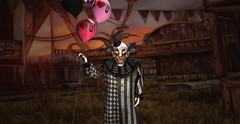 """"""" Can i interest you in a balloon? Come on over,i won't bite... Hahahahahahaaaa"""" (maka_kagesl) Tags: clown horror scary creep creepy balloons balloon virtual videogame game gaming photo photography pose portrait picture pic posing painting backdrop maka makaveli040 makakage makakagesl secondlife second sl life"""
