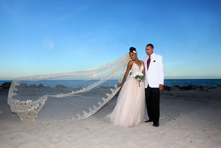 Newlyweds under the moon.