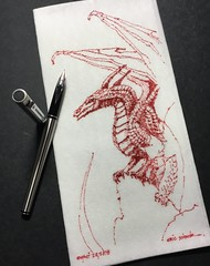 Red Monday (schunky_monkey) Tags: penandink ink pen fountainpen illustration art drawing draw sketching napkinsketch sketch napkin monster fantasy fire flyer firebreather beast creature mythical dragons dragon