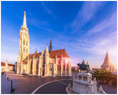 Matthias Church by morning light (4th Life Photography) Tags: budapest matthiaschurch church morning sunshine sun sighseeing famousplace landmark historic place nationallandmark nobody monument hungary hungarian old architecture blue sky sunrise tower fishermanbastion tourism bastion buda famous capital town travel