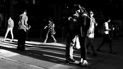 Stories in the City (draketoulouse) Tags: chicago loop wabash avenue street streetphotography people men women man woman city urban sunset shadow contrast blackandwhite monochrome