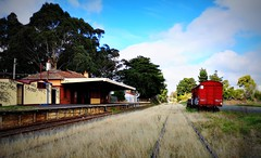 Station is Stationary (flowrwolf) Tags: 118in2018 118picturesin2018 atthestation disusedstation outofaction rail railcarriage lomo graffiti grass platform leongatha leongathastation huaweicltl29 flowrwolf