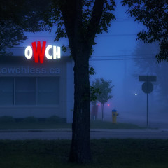 OWCH! (Mister Day) Tags: low light sign urban building mist