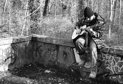 One Last Song (Michael William Photos) Tags: blackandwhite bw street streetphotography people newyork guitar music musician graffiti man hoodie shotoniphone iphone