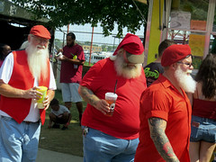 IMG_9332 (kennethkonica) Tags: indianastatefair people faces indiana indianapolis indy canonpowershot canon usa midwest america hoosier magicmoment persons color summer fun fairground fair santaclaus santa beards drinks tattoo candid hats