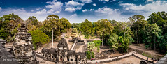 Panorama View of Eastern Entrance from the 3rd Level of Baphuon Pyramid-style Temple, Angkor Cambodia-23a (Yasu Torigoe) Tags: