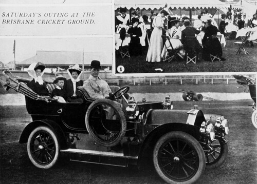 Humber touring car at the Brisbane Cricket Ground, Brisbane, ca.1908