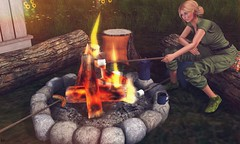 Camping nights (Rose Sternberg) Tags: second life sways deco home garden spotlight event campfire camp fire log stump coffee pot mug wood stick marshmadow sausage camping night swayland secondlife furniture living