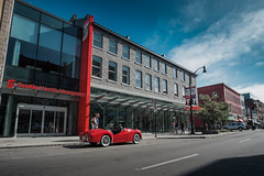 (Adam C Images) Tags: fuji xt2 xtrans mirrorless rokinon 12mm manual lens ultra wide angle downtown kingston ontario canada classic chrome red car vintage